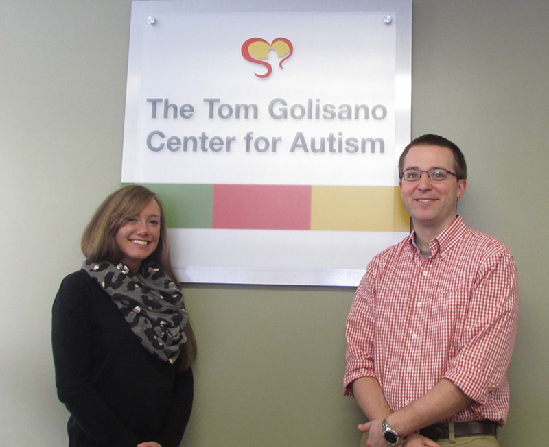 Michelle Myers, BA, BCaBA and Brandon Nichols, MSEd, BCBA, LBA at the Tom Golisano Center for Autism at Springbrook