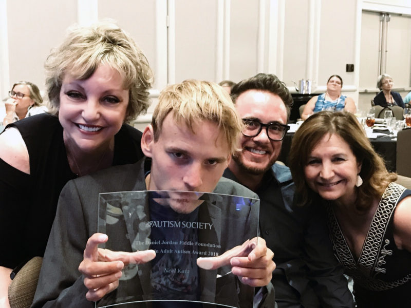 Linda Walder with Neal Katz, recipient of DJFF 2018 Leader in Adult Autism Award, his aide Ryan Berman and his mother Elaine Hall