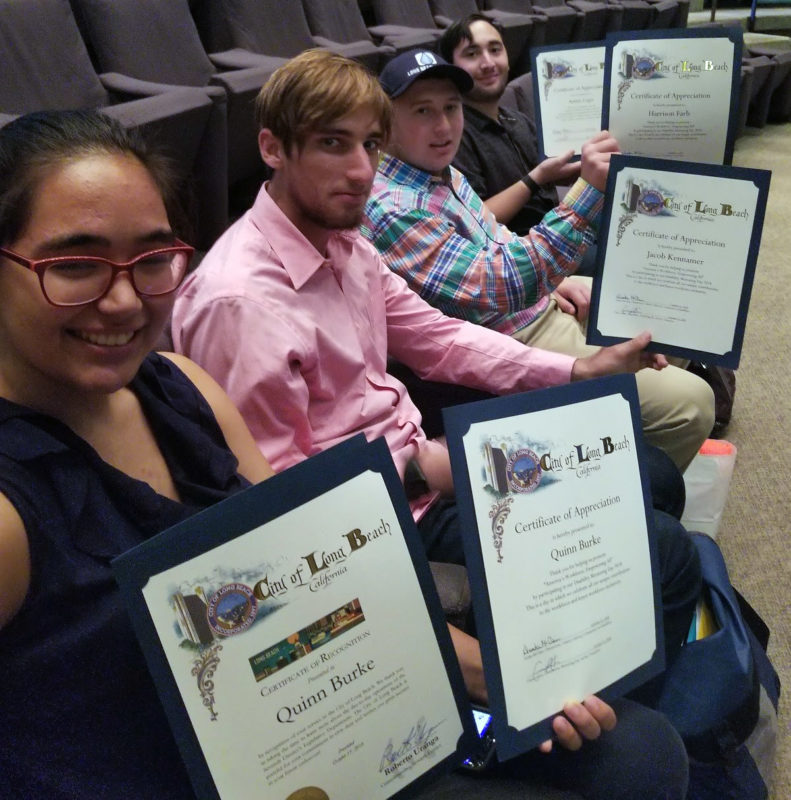CIP students receive a certificate of accomplishment for participating at the annual Disability Mentoring Month in Long Beach, California City Hall Council Chambers