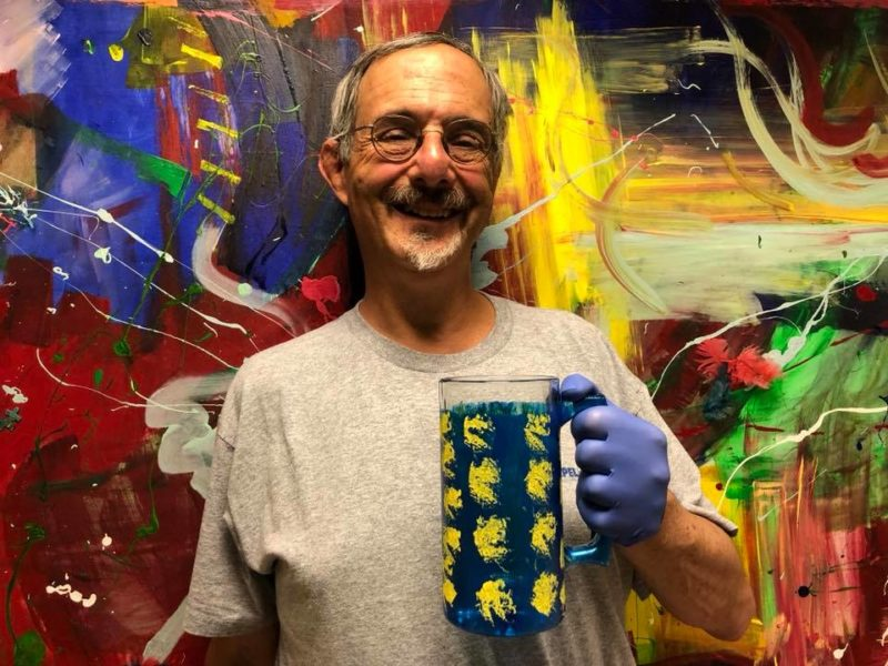 Andrew Auerbach, a Chapel Haven community member, enjoys classes and weekend rec activities, including a class in painting glassware