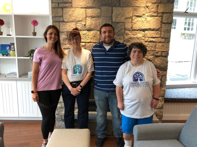 Biggest loser 2019: Ellen Rosenbaum, at far right in photo, placed second in Chapel Haven's Biggest Loser competition. She is shown with, from left, Trainer Kim Stack, Chapel Haven community member Kimberly LaManna and Chapel Haven teacher Bill Angier
