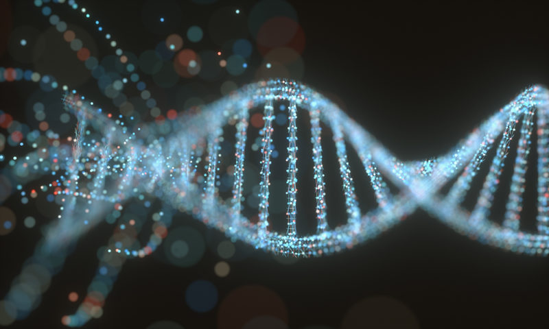 Colorful DNA molecule. Concept image of a structure of the genetic code.