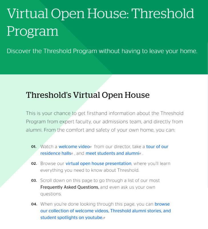 Virtual Open House: Threshold Program