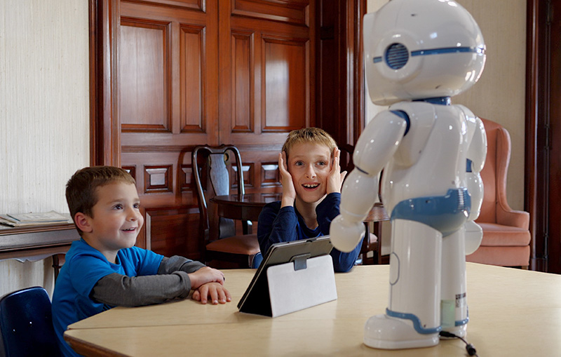 The QT robot from MOVIA Robotics is a charming tabletop friend with a friendly face. It can present animated expressions and simple movements that engage and educate children.