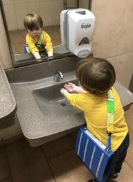 Washing hands before eating