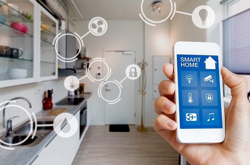 Smart home technology interface with AR view of internet of things objects interior