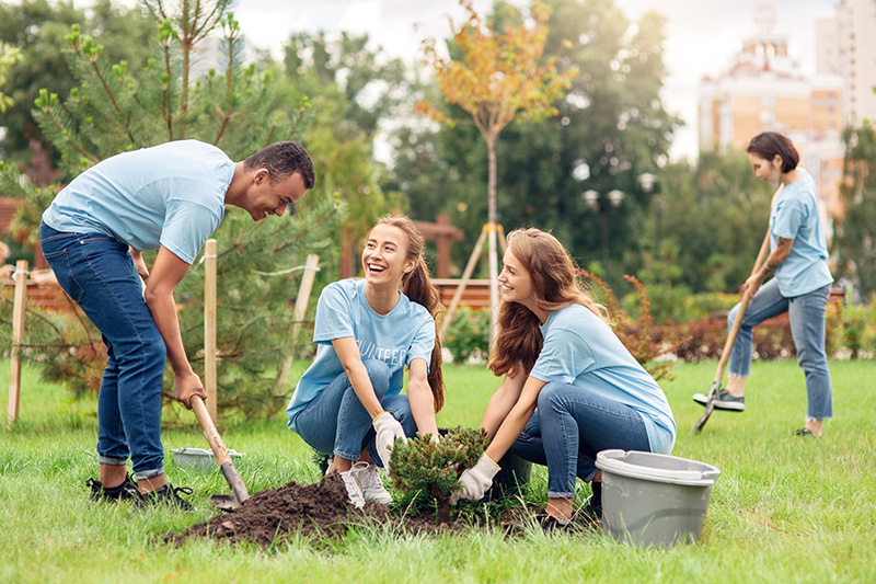 Young volunteers outdoors planting trees in the community