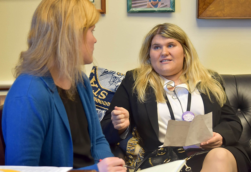 Danielle Levine makes her case for employment opportunities for people with intellectual and developmental disabilities during a visit with an aide for U.S. Rep. Carolyn Maloney.
