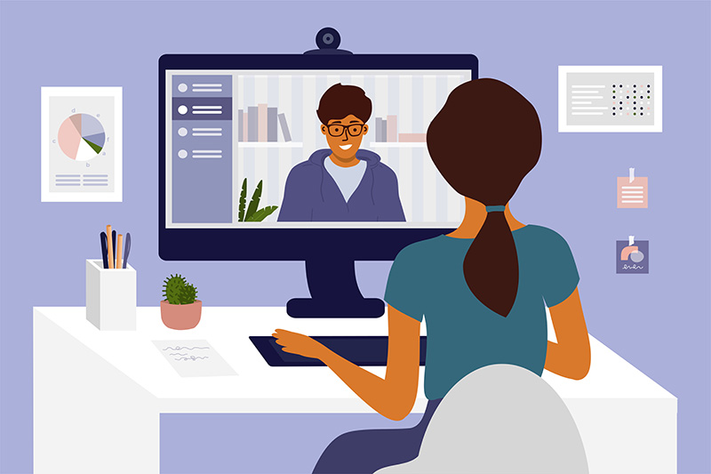 young woman practicing interview and networking skills remotely over Zoom