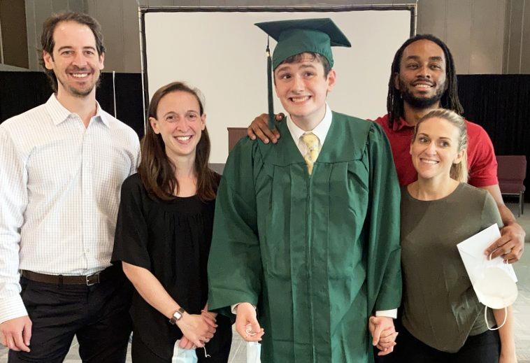 Celebrating Brendan's graduation in 2021. Brendan is the first graduate of Melmark Carolinas.